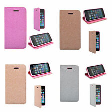 For Apple iPhone 5/5S/5SE In Glitter Book Flip Various Colours Cover Case
