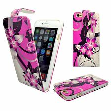 FOR APPLE IPHONE 6/6S PINK CREAM FLOWER PRINT DESIGN PU LEATHER FLIP CASE COVER
