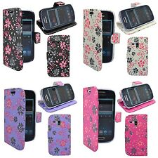 CASE COVER VARIOUS COLOUR IN FLOWER SWIRL GLITTER WALLET SAMSUNG GALAXY S3 MINI