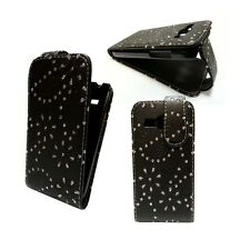 FOR SAMSUNG GALAXY ACE 3 BLACK BLING GLITTER DIAMOND  PU LEATHER FLIP CASE