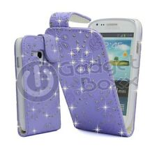 FOR SAMSUNG GALAXY S3 MINI I8190 BLING LILAC GLITTER FLIP PU LEATHER CASE COVER