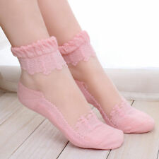Women Girl Summer Ultra Thin Socks  Breathable Crystal Lace Ankle Sock