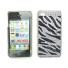 strass nero e Bianco Zebra Custodia rigida posteriore per Apple iPhone 4/4S