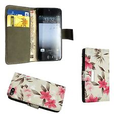 per Apple iPhone 5/5S bianco e rosa motivo a fiori LIBRO CUSTODIA COVER FLIP