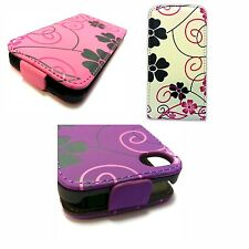BIANCO ROSA FIORE VIOLA VORTICE Flip custodia in pelle per Apple iPhone 4 4G