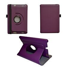 Morado Piel Artificial 360 GRADOS Caso Giratorio Para Amazon Kindle HDX Fire 7""