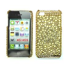 DIAMANTE SINTETICO ORO Custodia rigida POSTERIORE GEMMA PER APPLE IPHONE 4/4S