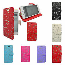 para Apple iPhone 6/6s de flores purpurina Cartera en varios colores FUNDA