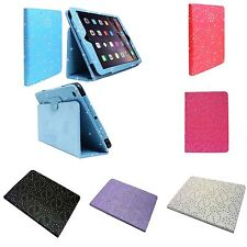 FOR APPLE IPAD AIR 2 FLORAL GLITTER IN VARIOUS COLOUR PU LEATHER COVER CASE