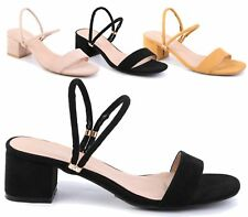 WOMENS FAUX SUEDE MID BLOCK HEEL ANKLE STRAP PEEP TOE SUMMER SANDALS SHOES SIZE