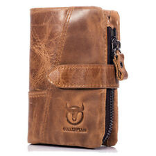 BULLCAPTAIN MEN VINTAGE WALLET LEATHER PURSE CASUAL SHORT WALLET WITH COIN BAG