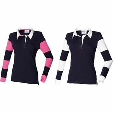 Donna FRONT ROW 100% cotone cuciture a righe maglia rugby maniche lunghe