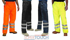 Hi Vis Vis Visibility Work Wear Safety Over Trousers Waterproof Pants New