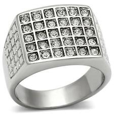 358 30STONE MENS SIGNET SQUARE RING  STAINLESS STEEL SIMULATED DIAMONDS MANS