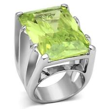 LOA847 SIMULATED DIAMOND RING RHODIUM EMERALD APPLE GREEN STATEMENT COCKTAILS