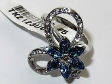 2123 blue topaz SIMULATED DIAMOND RING MARQUISE FLOWER OPEN PRETTY