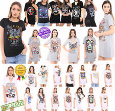 donna colletto scollo a V Casual Larga Maglia t-shirt rock SLOGAN PROFONDO MINI
