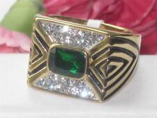 1195 MENS STAINLESS STEEL RING SIMULATED DIAMOND EMERALD GREEN SIGNET GOLD
