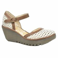 Fly London Yadu 732 Off White Grey Womens Leather Closed Toe Wedge Sandals