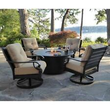5-piece Outdoor Patio Fire Pit Table & Chair Backyard Furniture Set w Fireplace