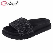 Women's Shine Flats Sandals Open Toe Glitter  Slippers Beach Shoes sandals flip