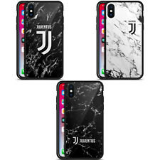 JUVENTUS FOOTBALL CLUB 2017/18 MARBLE BLACK HYBRID GLASS CASE FOR iPHONE PHONES