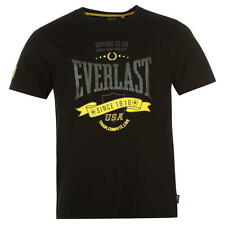 EVERLAST OFFICIAL BLACK PRINTED T-SHIRT MEN TRAINING GYM BOXING SPORT NYC BOXEN