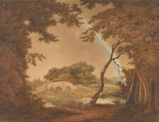 Landscape With Rainbow View Near Chesterfield Joseph Wright Derby  Poster 200gm