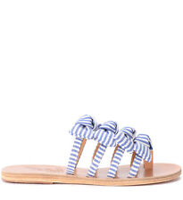 Ciabattina Ancient Greek Sandals Hara in tessuto bianco e blu con fioc