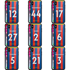 CRYSTAL PALACE FC 2017/18 HOME KIT 2 BLACK HYBRID GLASS CASE FOR iPHONE PHONES