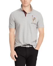 Hommes Polo Ralph Lauren Limited Edition Original Boathouse Bear Mesh Polo Grey