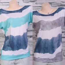 Donna Righe Casual Estivo Larga T-Shirt Donna Girocollo Manica Corta Top Nice