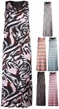 Womens Plus Size Toga Leopard Check Print Ladies Long Sleeveless Maxi Dress