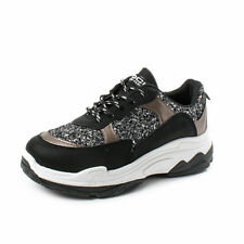 Sneakers donna con brillantini - Argento, Nero