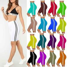 Womens Ladies Active Gym Tights Biker Hot Pant Sports Side Stripe Cycling Shorts