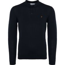 "FARAH VINTAGE ""MAIDWELL"" 100% MERINO WOOL KNITTED POLO NAVY, NEW! MOD-CASUAL"