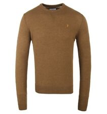 "FARAH VINTAGE ""ROSECROFT"" 100% LAMBSWOOL CREW-NECK JUMPER SAND, NEW! MOD-CASUAL"
