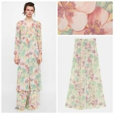 Zara Flowing High Waist Wide Leg Floral Palazzo Pants Trousers Size Med or Large