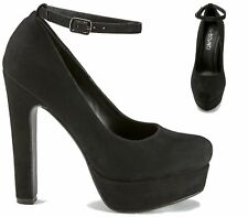 NEW LADIES PLATFORM HIGH CHUNKY HEEL ANKLE STRAP WOMENS COURT SHOES SIZE