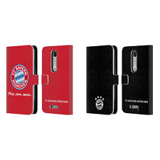 OFFICIAL FC BAYERN MUNICH 2017/18 LOGO LEATHER BOOK CASE FOR MOTOROLA PHONES 2