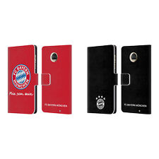 OFFICIAL FC BAYERN MUNICH 2017/18 LOGO LEATHER BOOK CASE FOR MOTOROLA PHONES