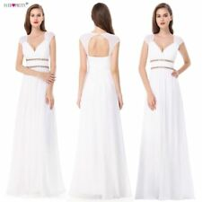 Beach Wedding Dress A-Line Lace Beaded Chiffon Bridal Gown