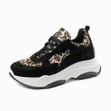 Divine Follie - Sneakers in vera pelle con stampa animalier - Nero