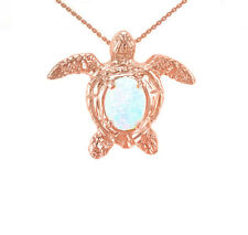 Solid 14k Rose Gold Sea Turtle with Simulated White Opal Pendant Necklace