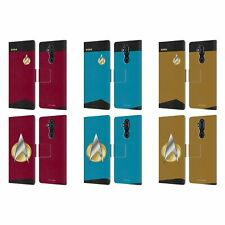 STAR TREK UNIFORMS AND BADGES TNG LEATHER BOOK CASE FOR MICROSOFT NOKIA PHONES