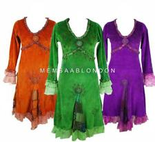 BOHO HIPPIE PATCHWORK EMBROIDERED LONG SLEEVE FLORAL LACE VELVET COTTON DRESS