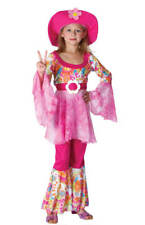 CHILDS GIRLS 60s GROOVY DIVA COSTUME 1960s HIPPIE FANCY DRESS