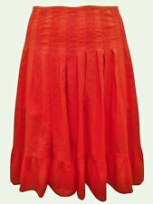 Coral Pink Pure Cotton Broderie Anglaise Panelled Skirt Plus Size 22 24 26 28 30