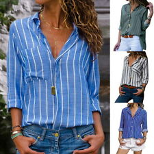 Fashion Women's V Neck Striped Blouse Long Sleeve Casual Button Up Shirts Tops