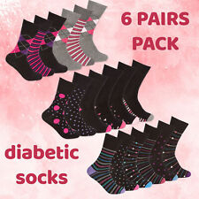 Ladies Womens Diabetic Socks 6 Pairs Cotton Rich Non Elastic Loose Top 4-8 Comfy